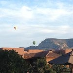 View of 6:00a.m hot air ballon rides over hotel