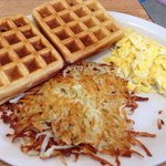 Waffles and eggs with a side of hashbrowns. Yum!
