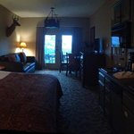 View of Roaring River Lodge Studio Room.  King Bed/Queen Bed Sofa & Kitchenette