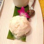 Kaffir lime panna cotta with coconut milk ice cream