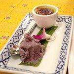 Pandan creme brulee with mangosteen ice cream