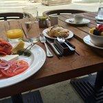Breakfast on the garden terrace by pool
