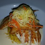 Snapper with coconut rum sauce
