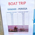 Local boat trips/water taxi times between Kamari and Perissa
