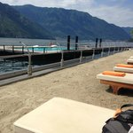 View from our sun lounger at the beach bar (with hotel, on the lake, private pool!)