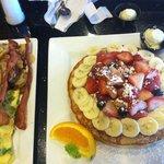 Florida pancake with eggs and bacon