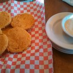 Fried green tomatoes with the spicy ranch dip