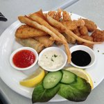seafood cones , mixed seafood plate