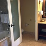 Other side of the bathroom - toilet closet, double sinks