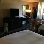 Big bedroom in our suite of the Ocean Tower - with crib for toddler