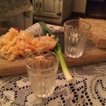love the complimentary vodka shot & snack plate upon arrival!