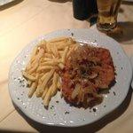 Schwein Schnitzel w/ Onions and Fries