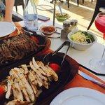Beef and chicken fajitas