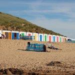 The Beach huts on Woolacombe beach.