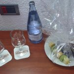 Compimentary first night fruit skewers, water & glasses brought to our room by staff