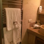 Heated towel rack inside a cave bathroom!