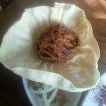 Poppadom,Onion Bhaji and Onion and Tomato Salad