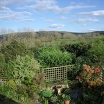 View over the garden towards Grizedale from the double rooms