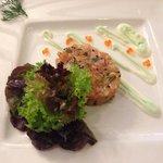Salmon tartar with wasabi cream