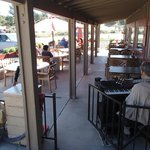 Outside dinning with live music everyday.