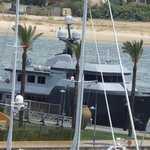 This huge yacht berthed 20ft from our breakfast table!