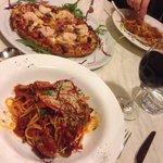 Sicilian pasta and my own pizza... Hawaiian+prawns+olives