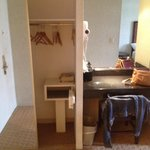 Wardrobe with safe, also an iron, ironing board and hair dryer