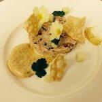Fresh crab, curry mayonnaise, cucumber, popadom, hand picked primroses