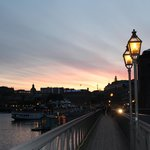 Evening view of Stockholm from bridge