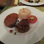 Tofu burger, quinoa, roasted veg & stuffed tomato