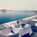 Breakfast outside in our honeymoon suite
