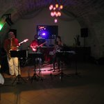 Wine cellar with the band and buffet