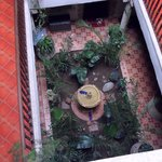 looking down from room to garden