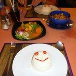 Reis mit verschienen Gemüse und ner Suppe