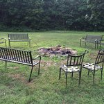 Common area fire pit across from Cabin 8