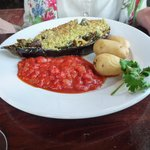 Stuffed aubergine.