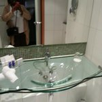 Beautiful glass sink in the bathroom