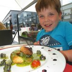 Ollie and his lovely starter at La Mer.