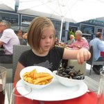Lucy had her moules frites.