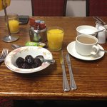 Breakfast - prunes, coffee, juice.
