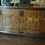 chest with marquetry of Nonsuch Palace on it