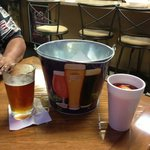 Beer, a bucket for the anticipated crab  refuse and my Hurricane.