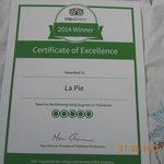 certificat d`excellence 2014