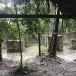 Hiding from rain somewhere in Coba
