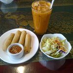 Fried Spring Rolls and Salad come with lunch entrees