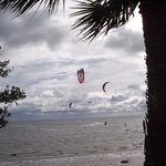 Parasailing in a strong breeze