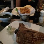 T-bone steak, chips & spinach