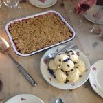 Crumble used with fruit from the garden