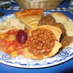 Grand mere's meatpie, meatball ragout, beans, potatoes