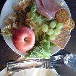 Free evening meal. Pasta, pesto, fruits, ham etc.